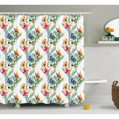 "Bradlee Shabby Elegance Decor Mimosas Daisies Flowers Leaves Buds Lilacs Artwork Print Shower Curtain Size: 69"" W x 70"" H"