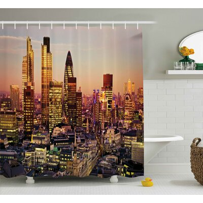 """Valentina New York Global City Sunset With Light Reflecting on Skyscrapers Famous Town Landmark View Shower Curtain Size: 69"""" W x 70"""" H"""
