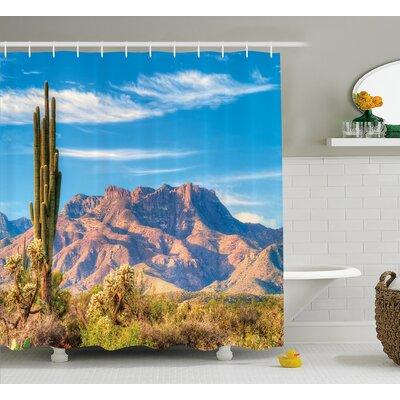 "Augustaville Landscape of Mountain Sun Desert Cactus Botanic Bushes Sky With Clouds Image Shower Curtain Size: 69"" W x 70"" H"