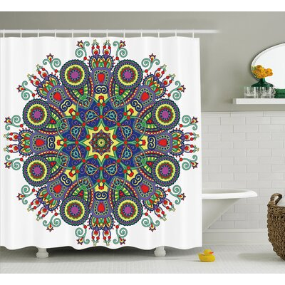 "Gifford Chakra Embellished Mandala Circle With Indian Paisley Elements Cosmos Asian Zen Ritual Art Shower Curtain Size: 69"" W x 70"" H"
