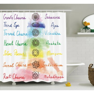 "Anaheid Brushstroke Inspired Lotus Pose Chakra Spots Shower Curtain Size: 69"" W x 70"" H"