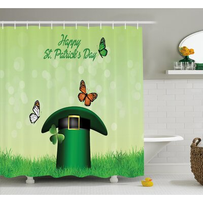 """St. Patrick'S Day Happy Religious Day Leprechaun Hat on Grass With Butterflies Shower Curtain Size: 69"""" W x 70"""" H"""