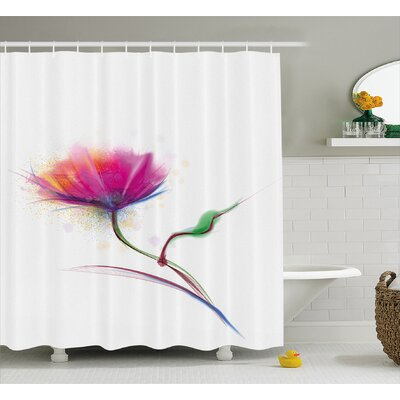 "Acevedo Simplistic Poppy Design Purity and Grace Symbol Splattered Image Shower Curtain Size: 69"" W x 75"" H"