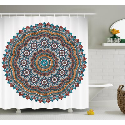 """Keane Mandala Vintage Moroccan Sacred Hidden Mean Ritual Belief Diagram With Nature Harmony Form Shower Curtain Size: 69"""" W x 70"""" H"""