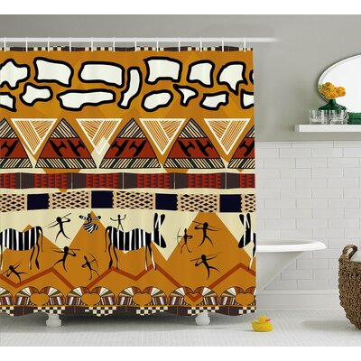 """Penaloza Tribal Ethnic African Hunting Zebra With Arrow Prehistoric Tribe Life Theme Shower Curtain Size: 69"""" W x 70"""" H"""