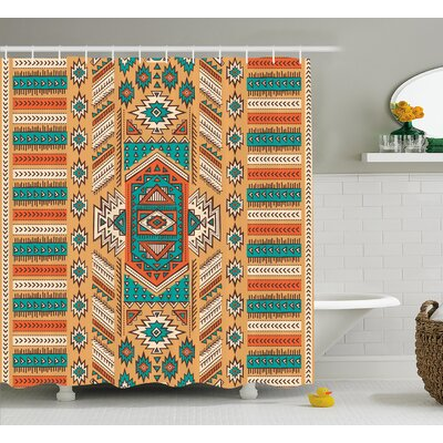"""Molly Tribal Indian Aztec Secret Tribe Pattern Native American Bohemian Style Shower Curtain Size: 69"""" W x 70"""" H"""