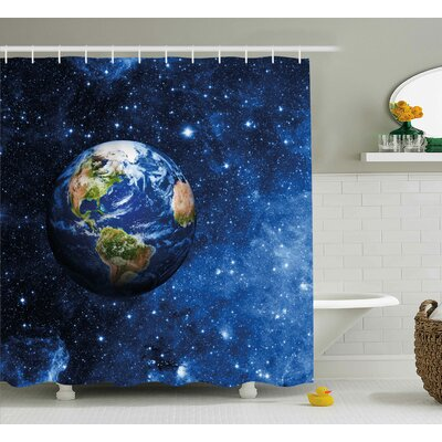 """Johnny Outer View of Planet Earth Shower Curtain Size: 69"""" W x 84"""" H"""