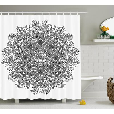 "Erica Mandala Monochrome Embellished Pattern Ancient Mystical Heritage Henna Cosmos Icon Artwork Shower Curtain Size: 69"" W x 75"" H"