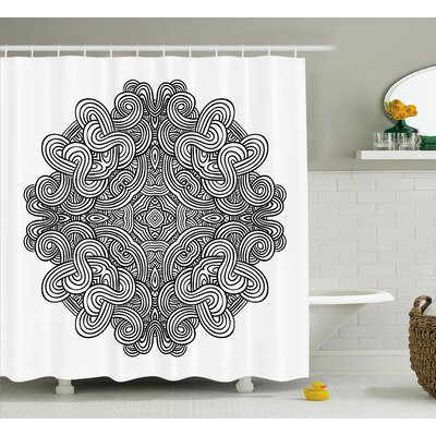 """Kearns Circular Ancient Celtic With Twisted Spirals and Lines Classic Cultural Print Shower Curtain Size: 69"""" W x 70"""" H"""