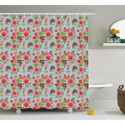 """Ruthee Indian Eastern Oriental Botanic Buds and Floral With Leaves Natural Print Shower Curtain Size: 69"""" W x 75"""" H"""