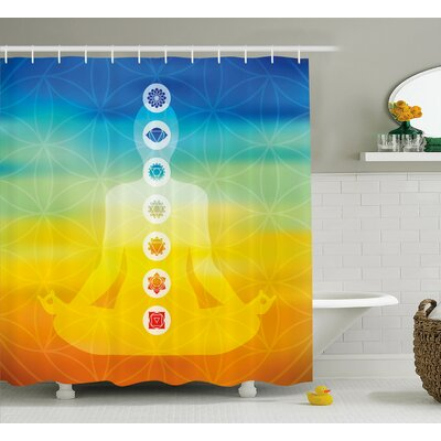 "Paterson Gradient Colored Digital Female Human Body With Central Sacred Chakra Points Design Shower Curtain Size: 69"" W x 70"" H"