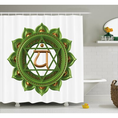 "Lebanon Chakra Circular Oriental Earth Core Form Ancient Balance and Harmony Shower Curtain Size: 69"" W x 70"" H"