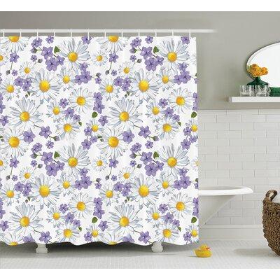 "Wen Home Chamomile and Wild Flower Summer Natural Elegant Pattern Shower Curtain Size: 69"" W x 70"" H"