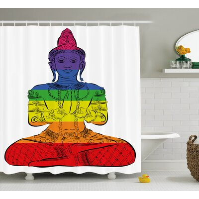 "Aidan Chakra Sitting and Meditating Person Rainbow Pattern With Connected Energy Zen Art Print Shower Curtain Size: 69"" W x 70"" H"