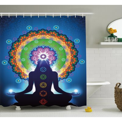 "Taryn Chakra Silhouette of Woman Doing Yoga With Vertical Blending Effects and Mesh Peace Motif Shower Curtain Size: 69"" W x 70"" H"