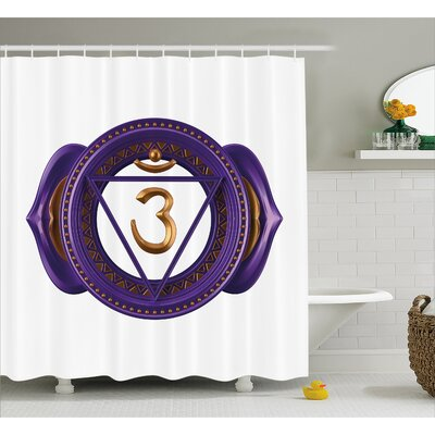 "Deandra Chakra Asian Ethnic Occult Sign With Iconic Elements Esoteric Culture Boho Design Shower Curtain Size: 69"" W x 75"" H"