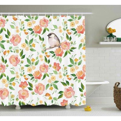 "Stiller Petals Blossoms Leaves and Bird Sitting Vintage Elegance Image Shower Curtain Size: 69"" W x 70"" H"