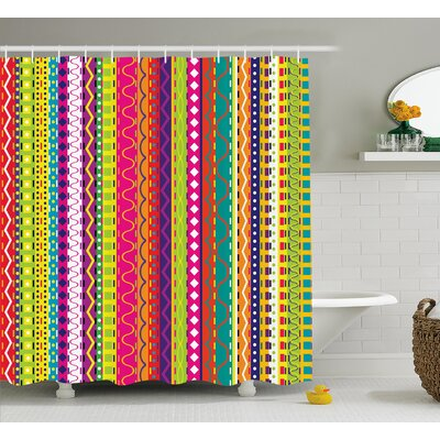 "Francisco Ethnic Vintage Forms Shower Curtain Size: 69"" W x 84"" L"