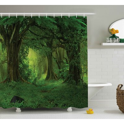 """Nature Tropical Jungle Trees Shower Curtain Size: 69"""" W x 70"""" L"""