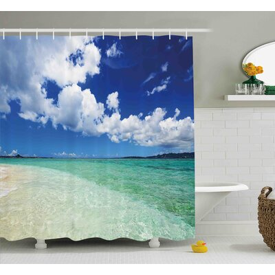 "Ocean Island Sealife Wavy Sunny Shower Curtain Size: 69"" W x 70"" L"
