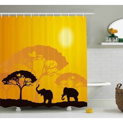 """Avia Africa Abstract Wildlife Shower Curtain Size: 69"""" W x 70"""" L"""