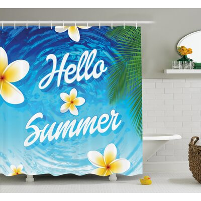 "Ernestine Palm Leaves Plumeria Shower Curtain Size: 69"" W x 70"" L"