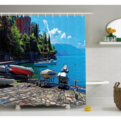 "Beal Boats European Sea Town Shower Curtain Size: 69"" W x 84"" L"