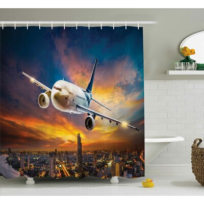 "Travel Night Scene with Plane Shower Curtain Size: 69"" W x 84"" L"
