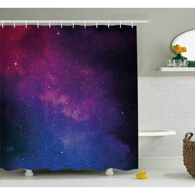 "Stardust Space Rainbow Shower Curtain Size: 69"" W x 70"" L"