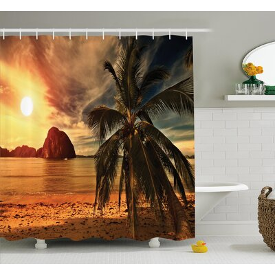 "Tropic Coconut Palm Tree Beach Shower Curtain Size: 69"" W x 75"" L"