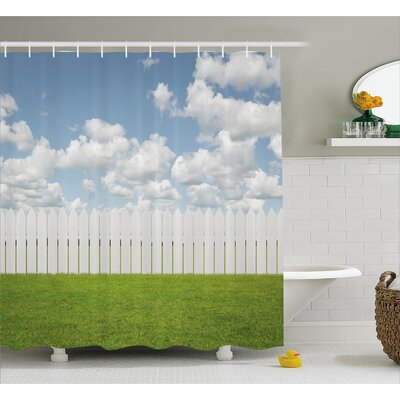 "Scenery Sky with Clouds Farm Shower Curtain Size: 69"" W x 75"" L"