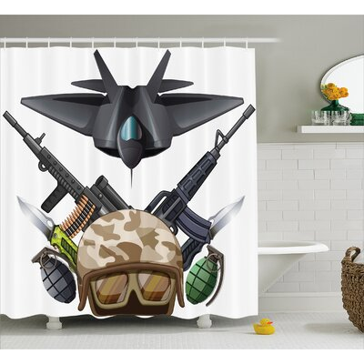 "Fabric War Battle Soldier Jet Shower Curtain Size: 69"" W x 70"" L"