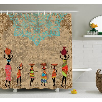 """Avia Folkloric Boho African Shower Curtain Size: 69"""" W x 70"""" L"""