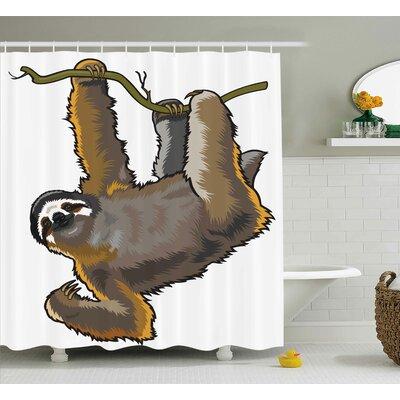 "Animal Lazy Sloth Bear Cartoon Shower Curtain Size: 69"" W x 70"" L"