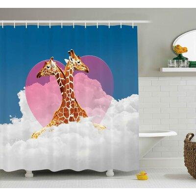"Francina Romantic Giraffes Cloud Shower Curtain Size: 69"" W x 70"" L"