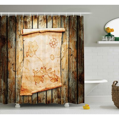 """Fabric Map on Grunge Timber Shower Curtain Size: 69"""" W x 70"""" L"""