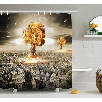 """Brunelle Yellow Gray Nuclear Bomb Shower Curtain Size: 69"""" W x 70"""" L"""