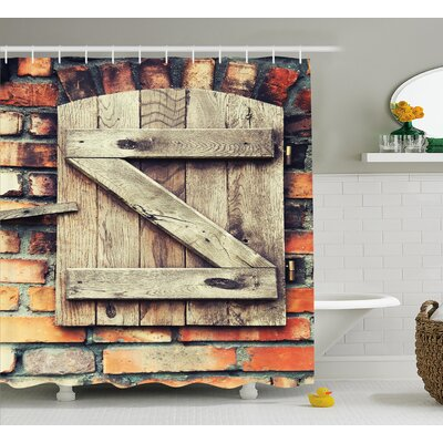 """Wooden Natural Red Brick House Shower Curtain Size: 69"""" W x 70"""" L"""