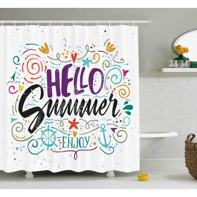 "Quote Enjoy Quote with Hearts Shower Curtain Size: 69"" W x 70"" L"