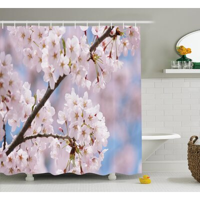 """Spring Floral Cherry Branches Shower Curtain Size: 69"""" W x 84"""" L"""