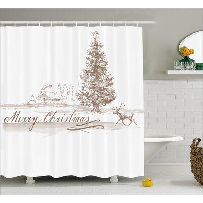 "Bateson Vintage Classic Xmas Shower Curtain Size: 69"" W x 70"" L"
