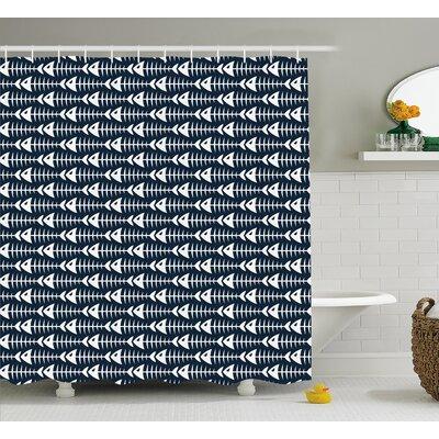 "Kaylynn Fish Bone Skeleton Spine Shower Curtain Size: 69"" W x 70"" L"
