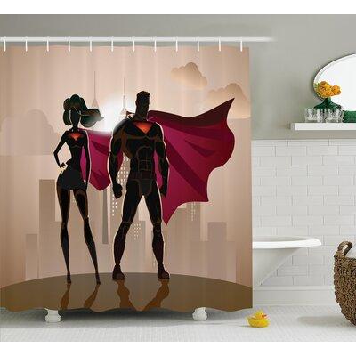 "Superhero City Hero Hot Couple Shower Curtain Size: 69"" W x 75"" L"