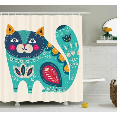 """Rohan Paisley India Style Cat Shower Curtain Size: 69"""" W x 70"""" L"""