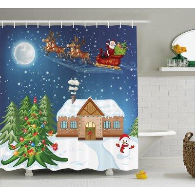 "Christmas Santa with Rudolf Shower Curtain Size: 69"" W x 75"" L"