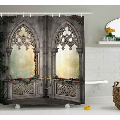 """Gothic Oriental Rose and Flower Shower Curtain Size: 69"""" W x 70"""" L"""