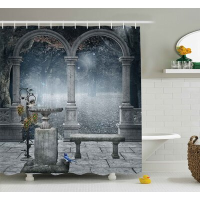 """Gothic Fictional Mythic Stones Shower Curtain Size: 69"""" W x 75"""" L"""