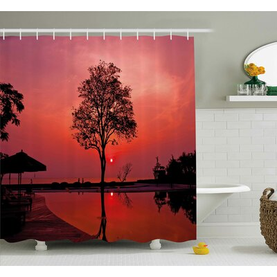 "Sunrise Twilight Sky with Tree Shower Curtain Size: 69"" W x 84"" L"