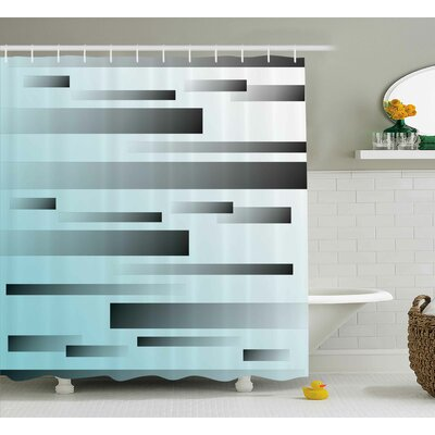 """Alessandra Abstract Lines Sci Fi Shower Curtain Size: 69"""" W x 70"""" L"""