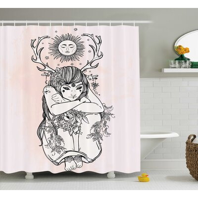 """Pink Occult Girl under Sun Shower Curtain Size: 69"""" W x 84"""" L"""